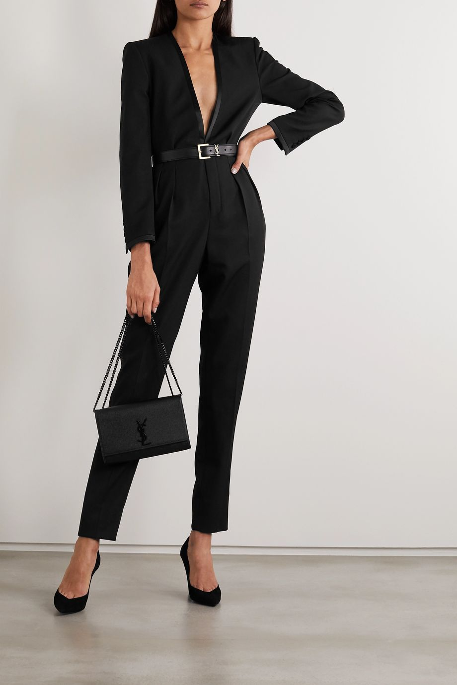 SAINT LAURENT Satin-trimmed wool-crepe jumpsuit