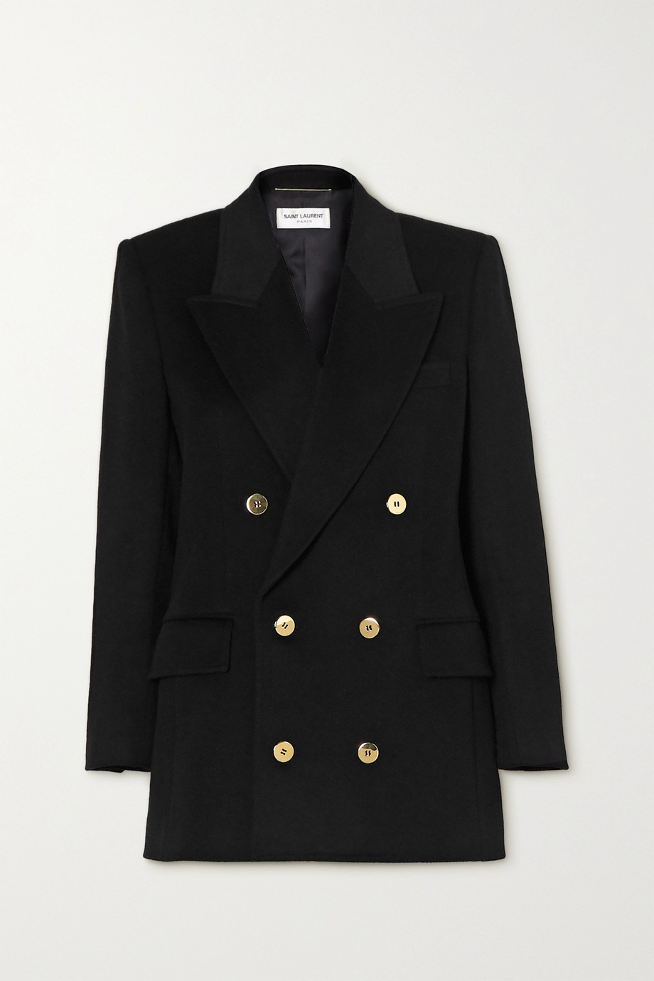 SAINT LAURENT Double-breasted wool and cashmere-blend blazer
