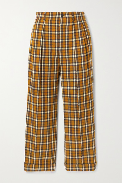 SAINT LAURENT - Cropped Pleated Checked Wool Straight-leg Pants