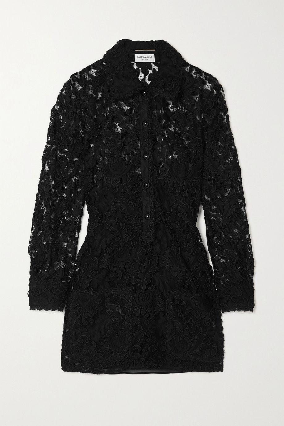 SAINT LAURENT Corded lace mini shirt dress