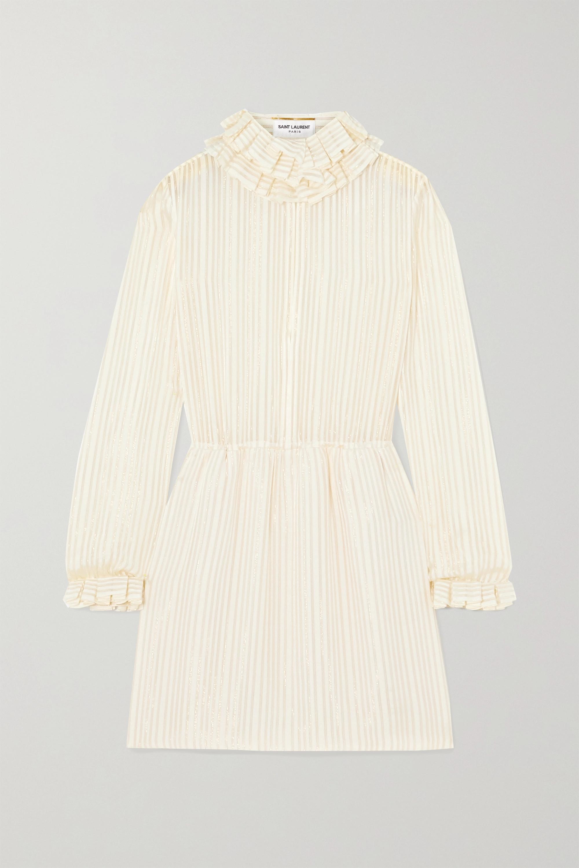 SAINT LAURENT Ruffled metallic striped silk-blend mini dress