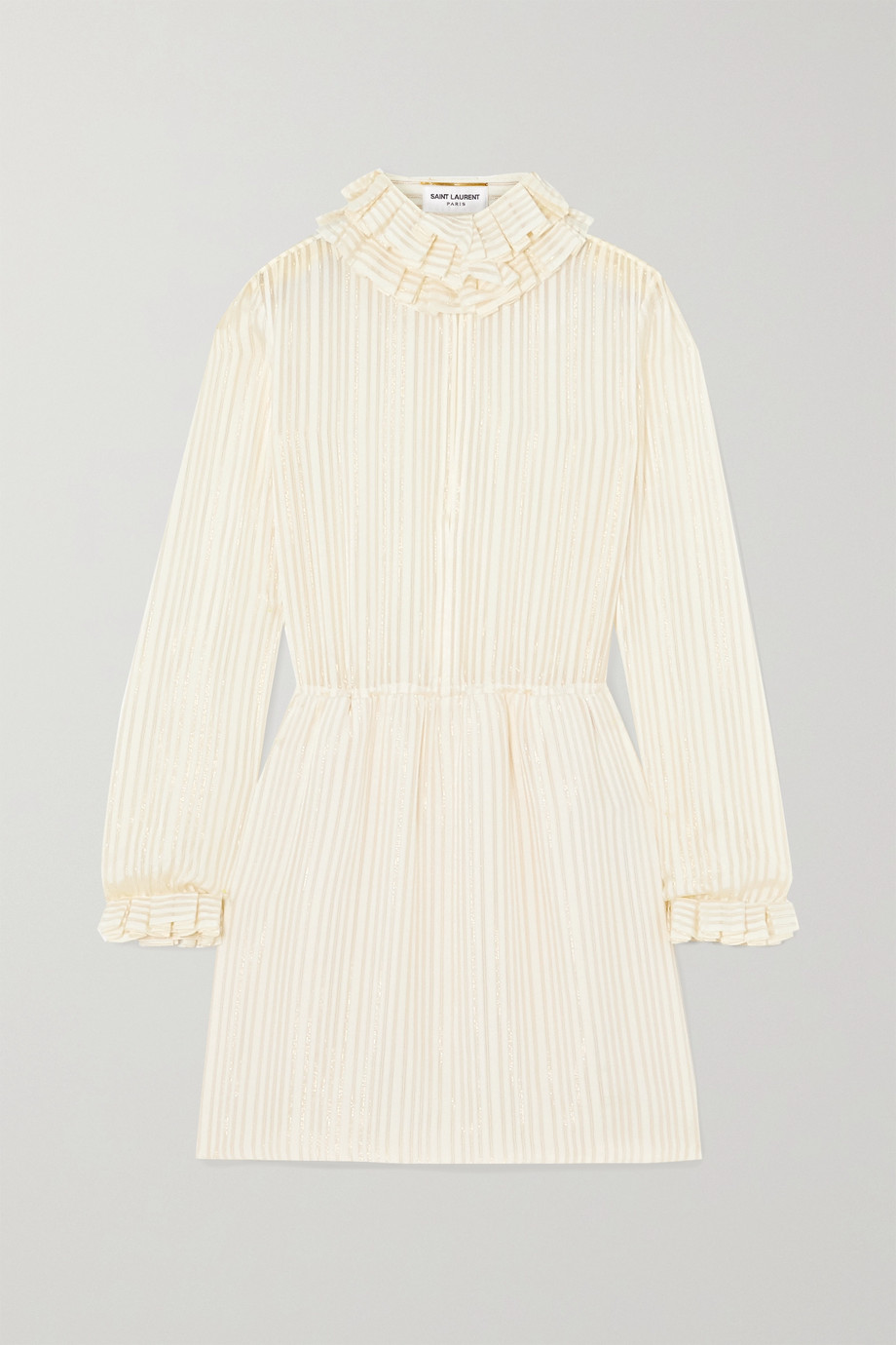 SAINT LAURENT Ruffled metallic striped silk-blend mini dress