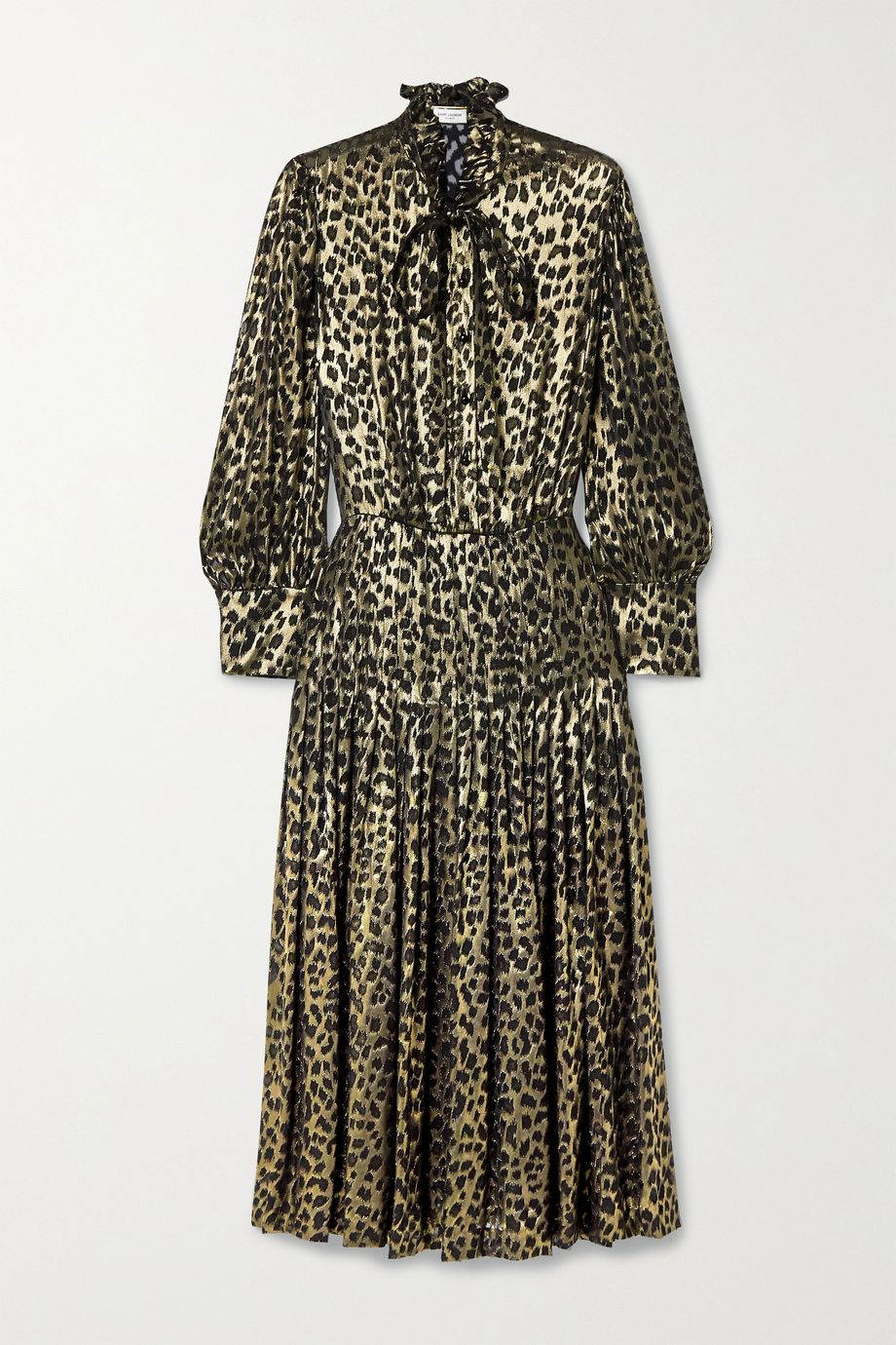 SAINT LAURENT Pussy-bow pleated leopard-print fil coupé silk-blend lamé midi dress