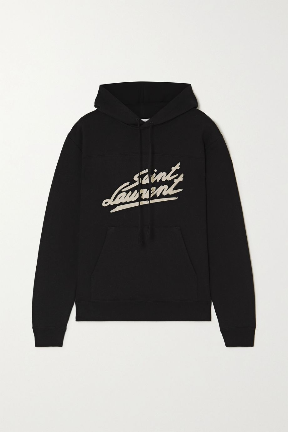 SAINT LAURENT Flocked cotton-jersey hoodie