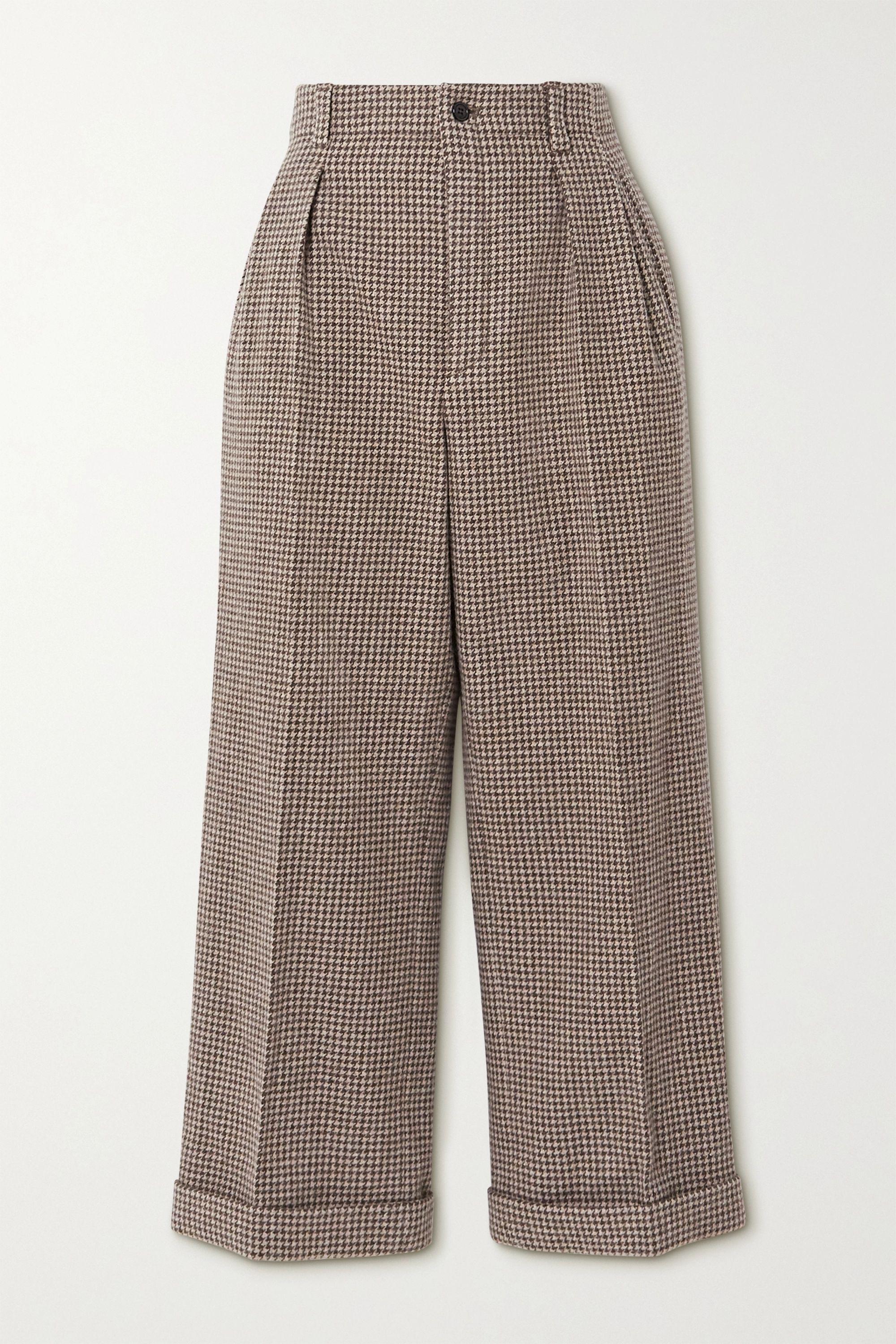 SAINT LAURENT Pantalon large raccourci en laine pied-de-poule à plis