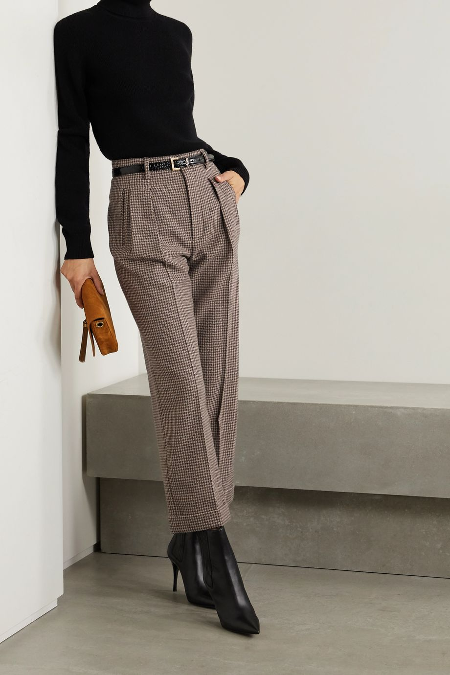 SAINT LAURENT Cropped pleated houndstooth wool wide-leg pants