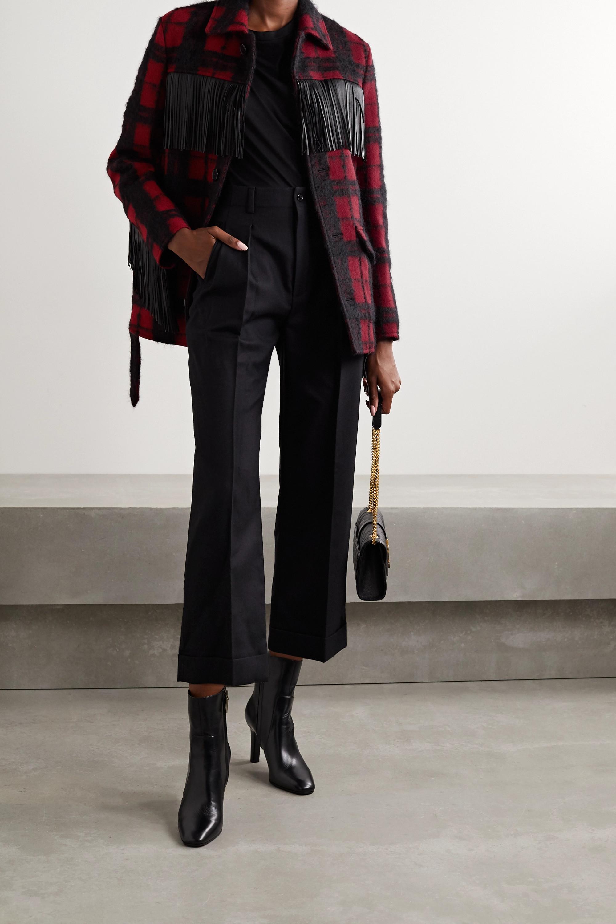 SAINT LAURENT 配腰带流苏皮革边饰格纹羊毛混纺夹克