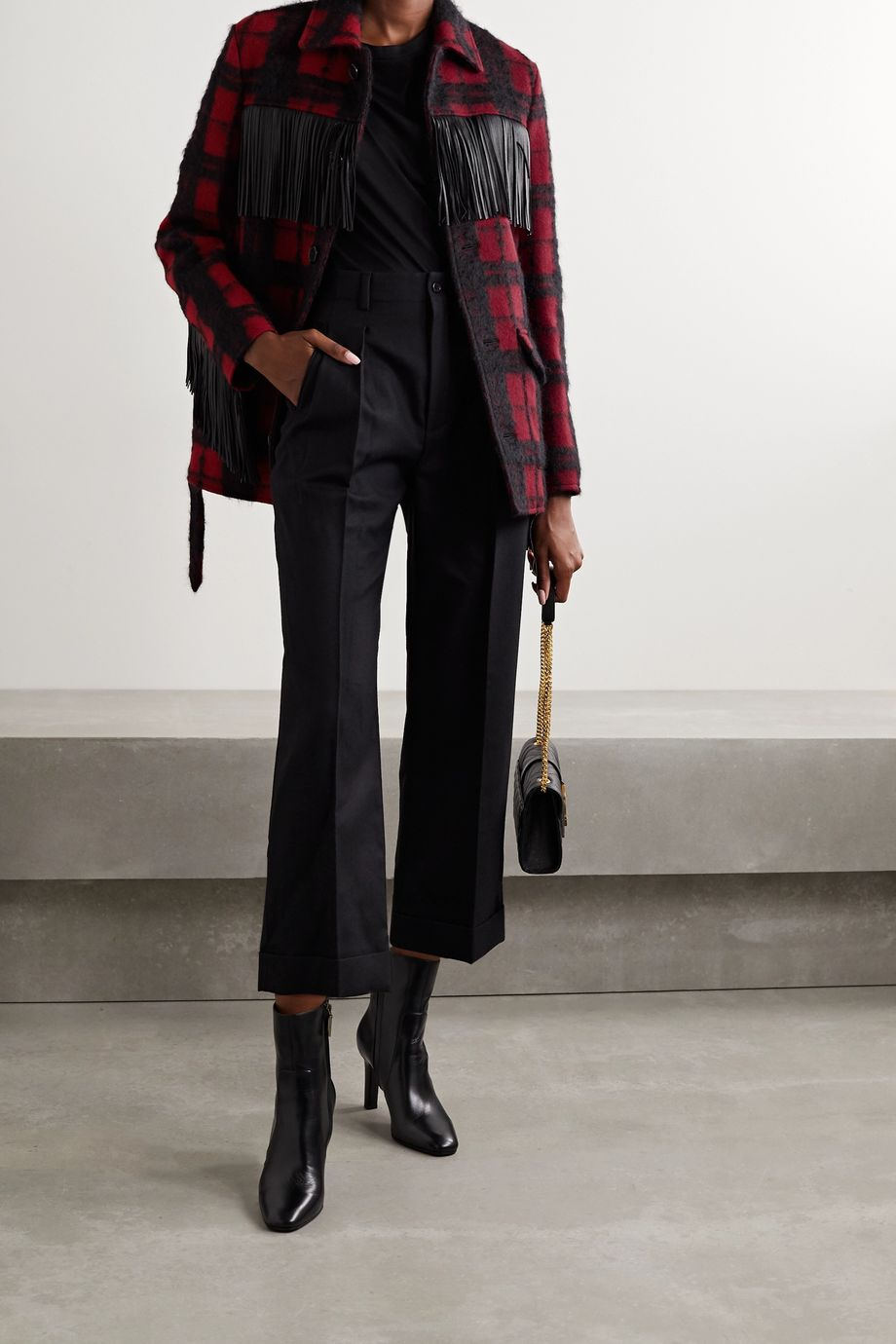 SAINT LAURENT Belted fringed leather-trimmed checked wool-blend jacket