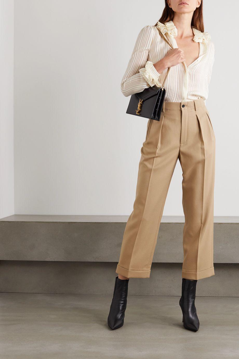 SAINT LAURENT Wool-gabardine straight-leg pants