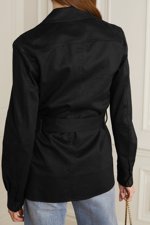 SAINT LAURENT Belted cotton and ramie-blend gabardine jacket