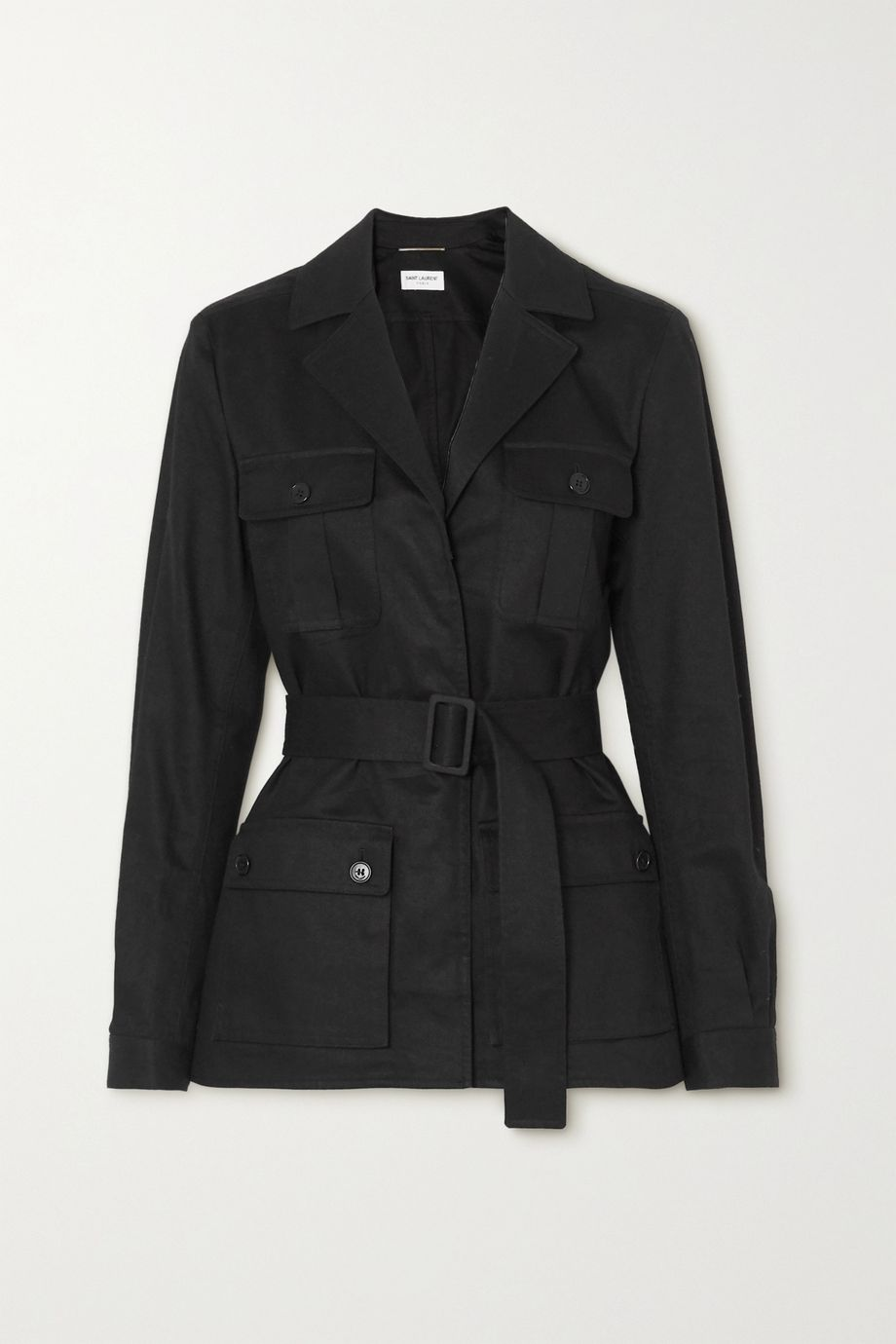 SAINT LAURENT Belted cotton and ramie-blend gabardine jacket