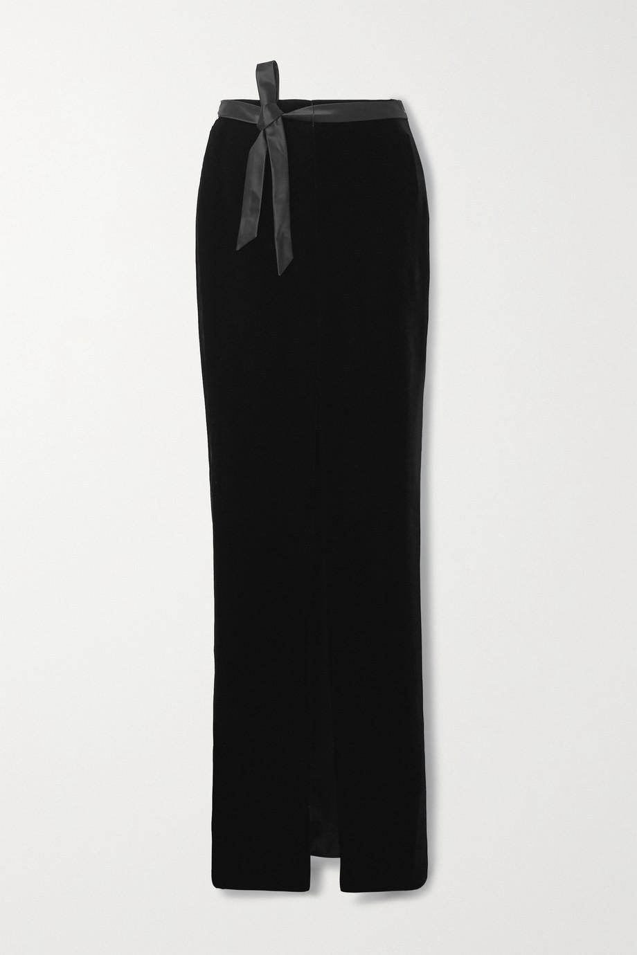 SAINT LAURENT Satin-trimmed velvet maxi skirt