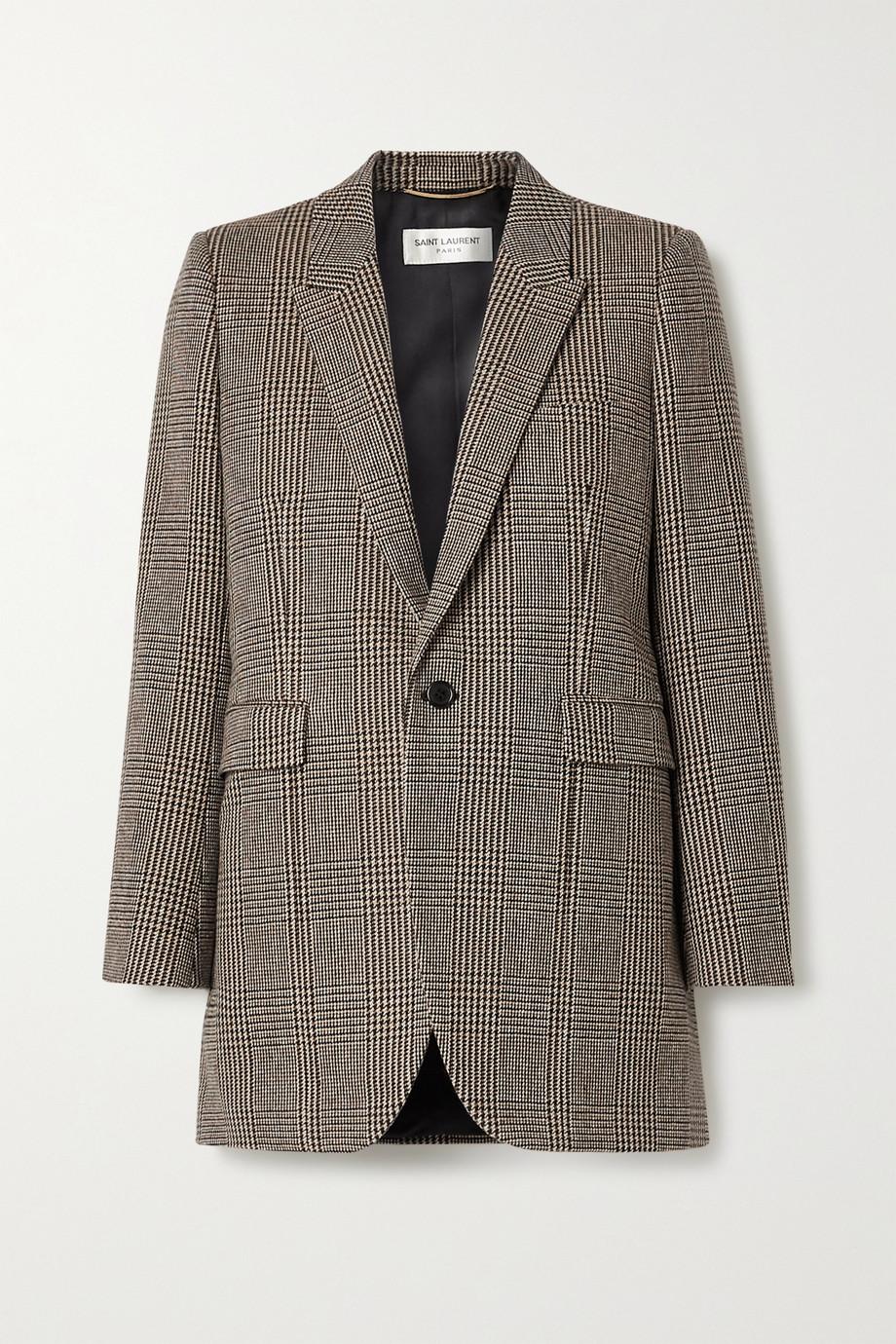 SAINT LAURENT Blazer en laine mélangée à carreaux