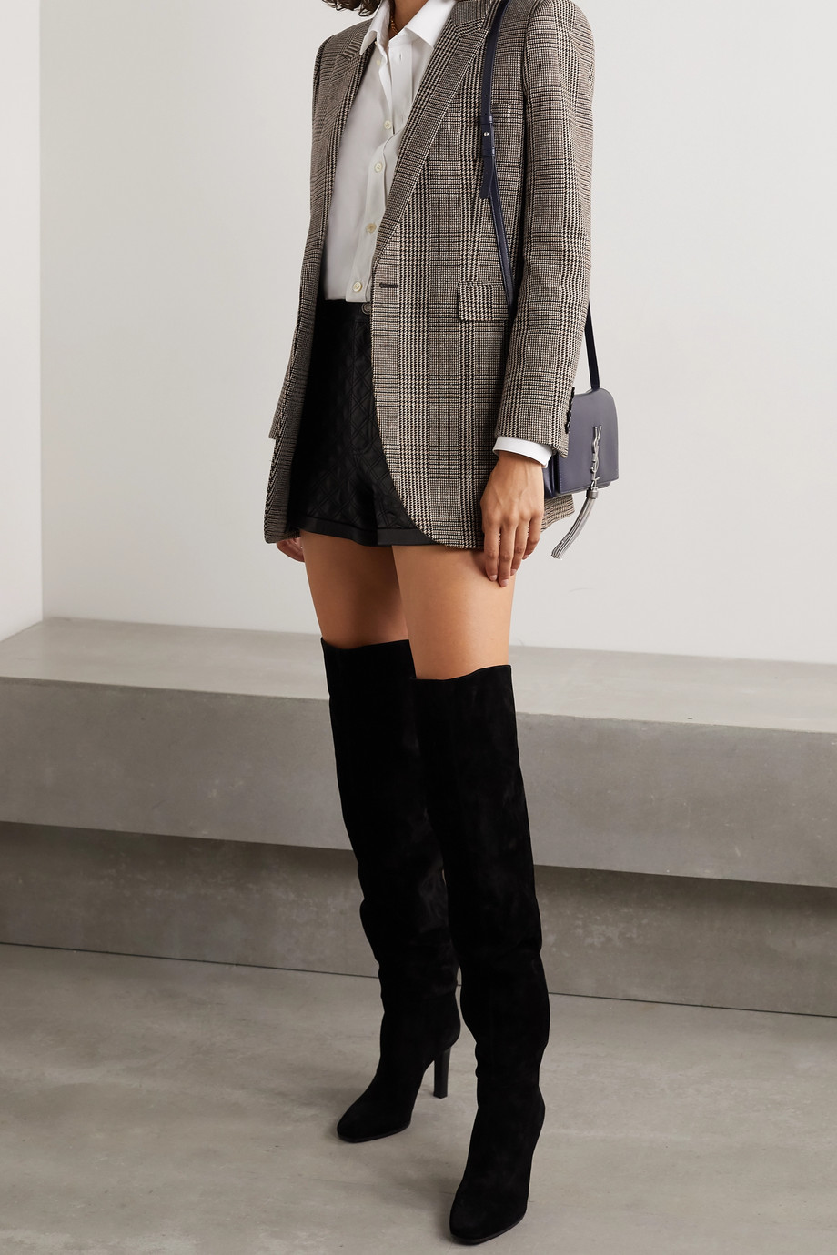 SAINT LAURENT Checked wool-blend blazer