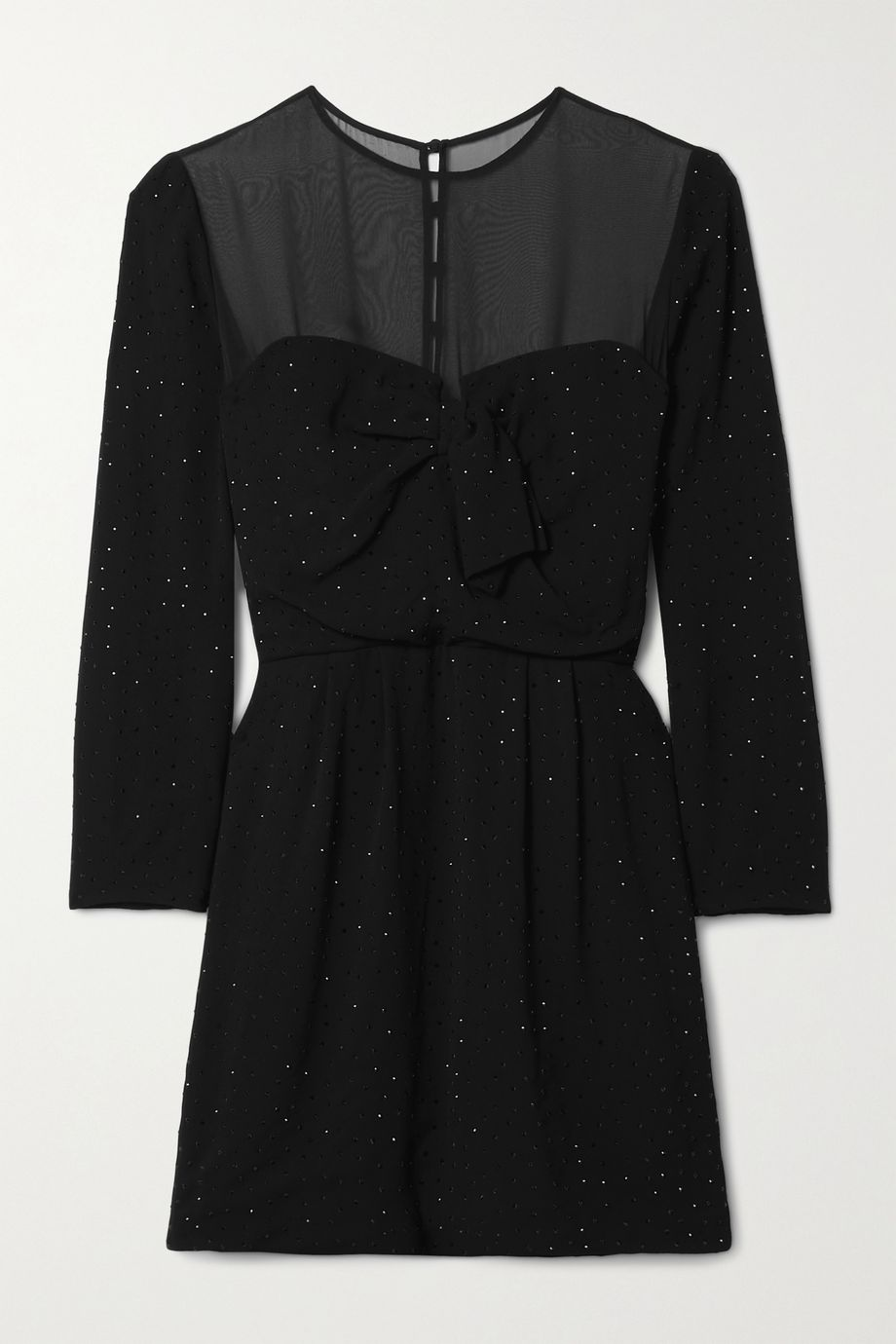 SAINT LAURENT Chiffon-trimmed crystal-embellished crepe mini dress
