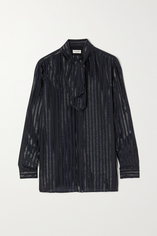 SAINT LAURENT Tie-neck striped metallic silk-blend shirt
