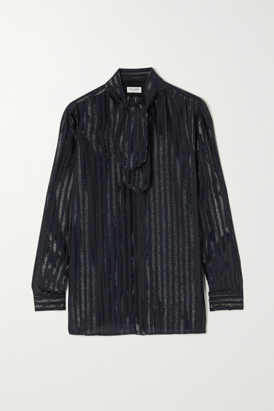 SAINT LAURENT Tie-neck striped metallic silk-blend shirt