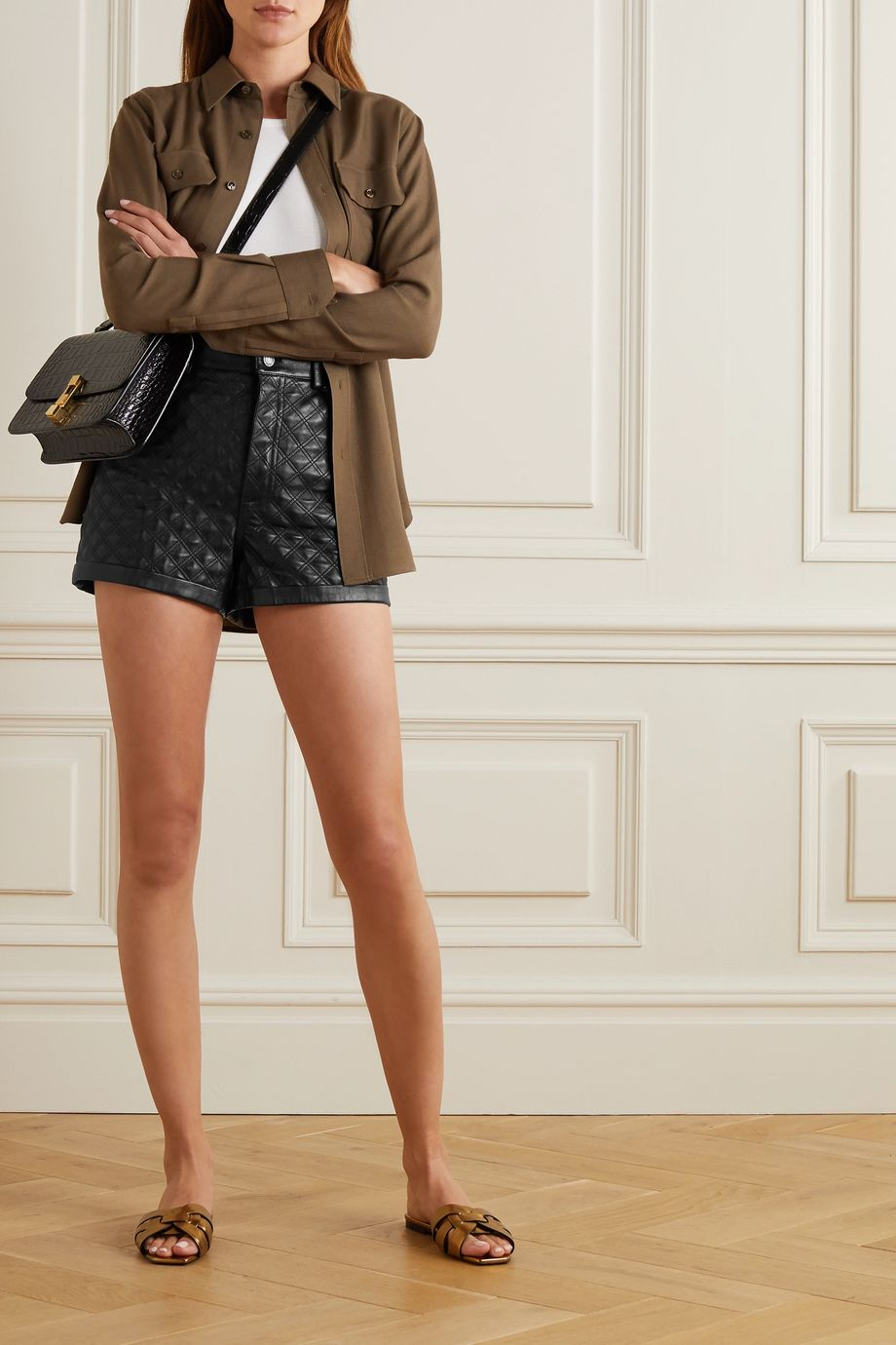 SAINT LAURENT Quilted padded leather shorts
