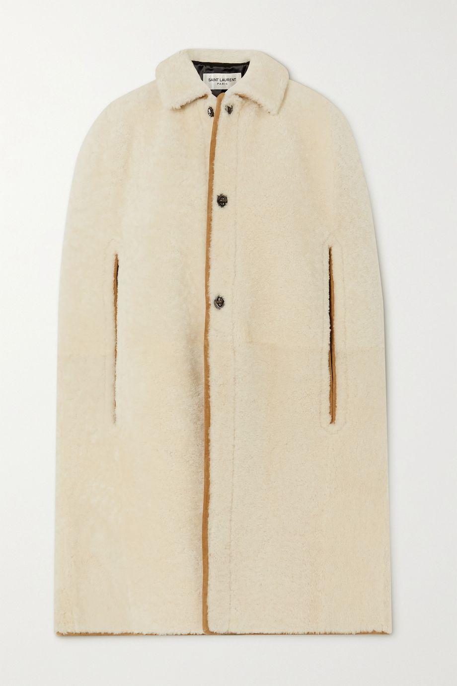 SAINT LAURENT Cape en peau lainée à finitions en daim