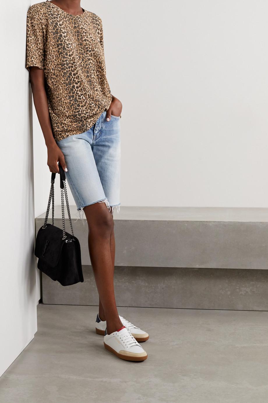 SAINT LAURENT Leopard-print cotton-jersey T-shirt