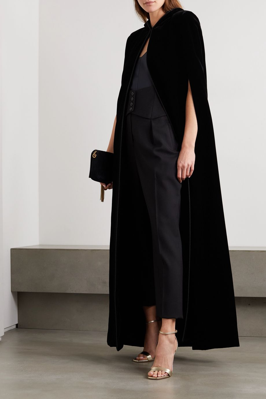 SAINT LAURENT Cape aus Samt mit Kapuze