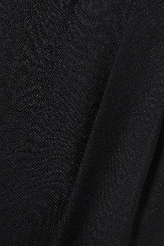SAINT LAURENT Cropped pleated wool-gabardine straight-leg pants