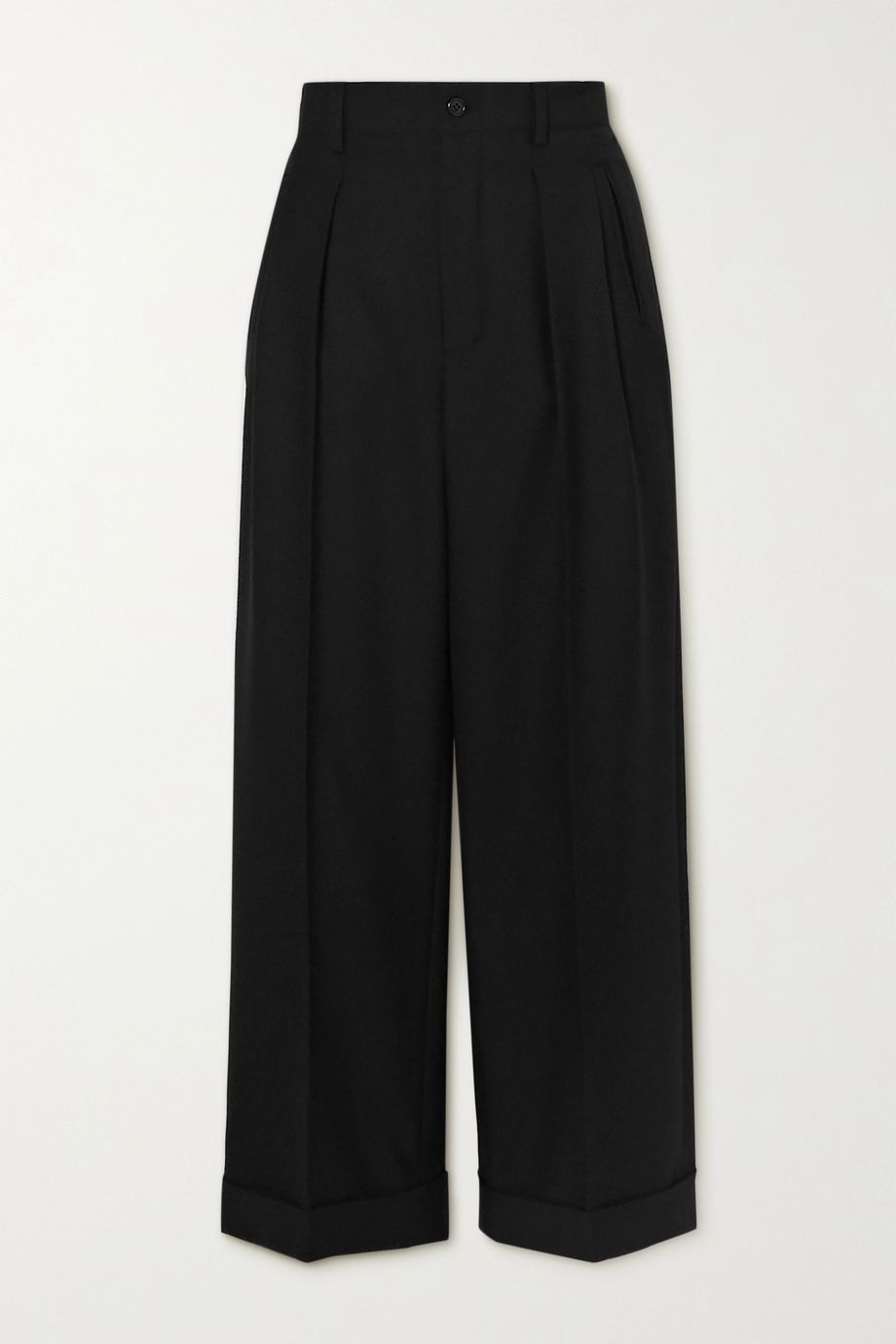 SAINT LAURENT Cropped pleated wool-gabardine straight-leg pants