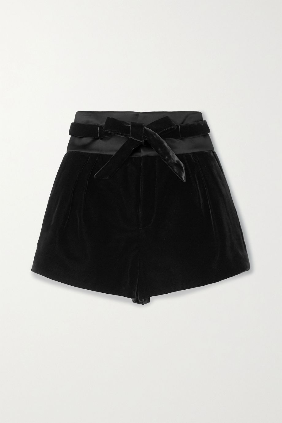 SAINT LAURENT Satin-trimmed velvet shorts