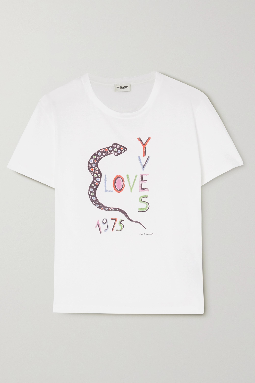 SAINT LAURENT Printed cotton-jersey T-shirt