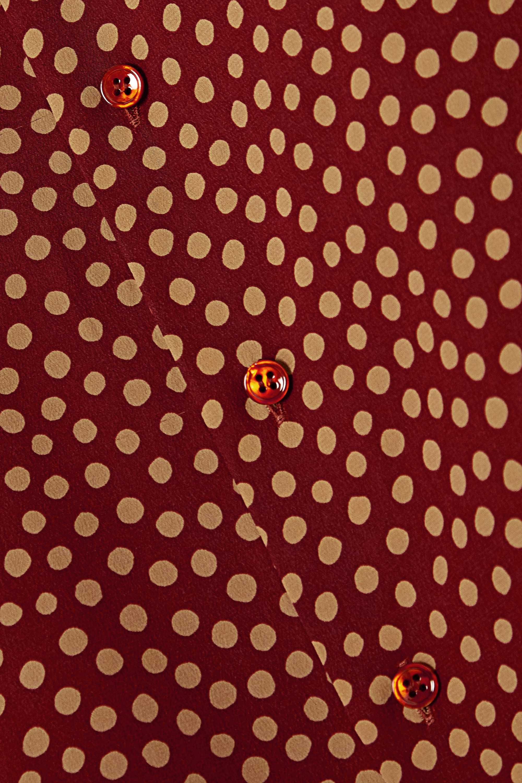 SAINT LAURENT Polka-dot silk crepe de chine shirt