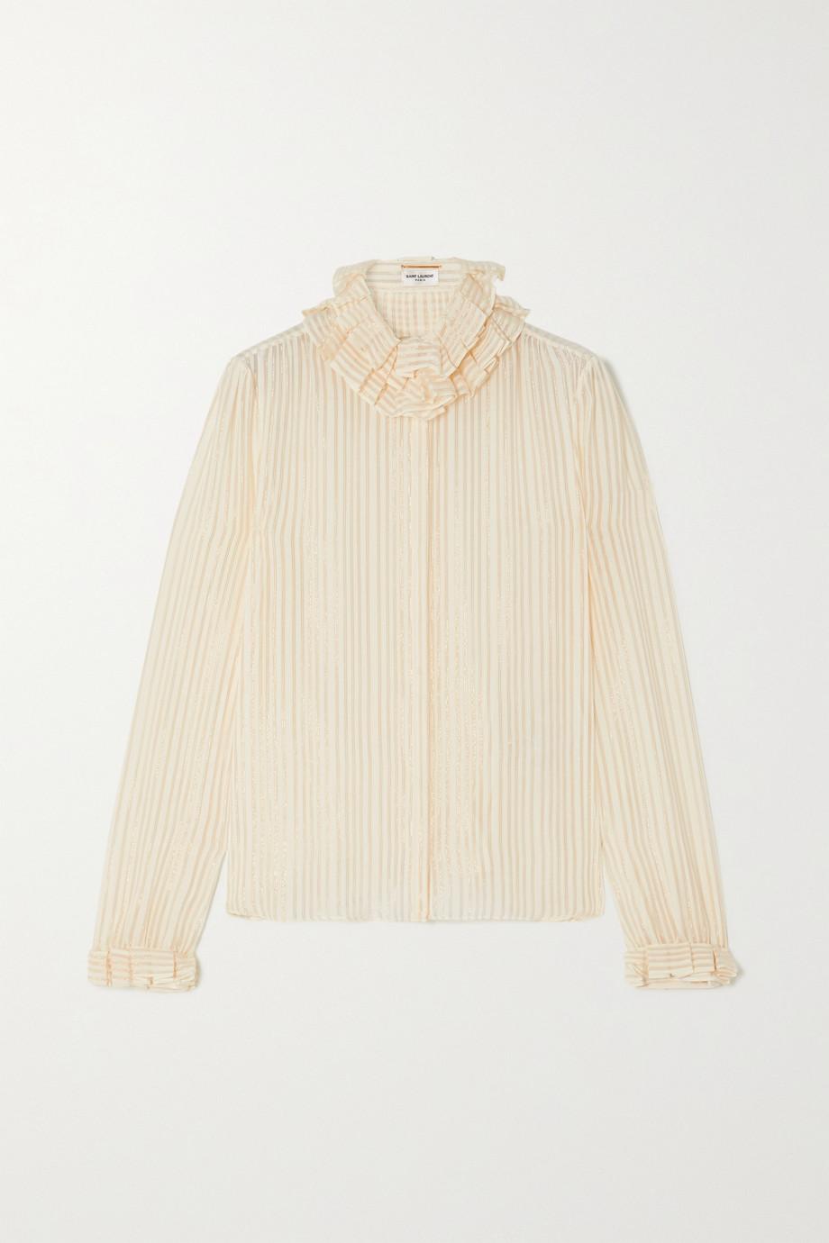 SAINT LAURENT Ruffled striped metallic silk-blend shirt
