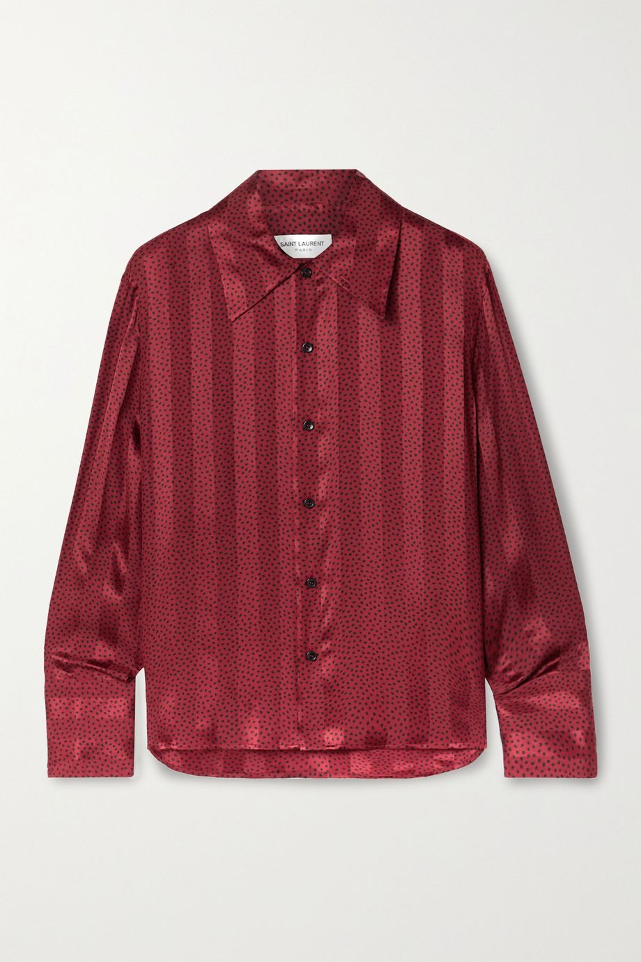 SAINT LAURENT Polka-dot silk-satin jacquard shirt