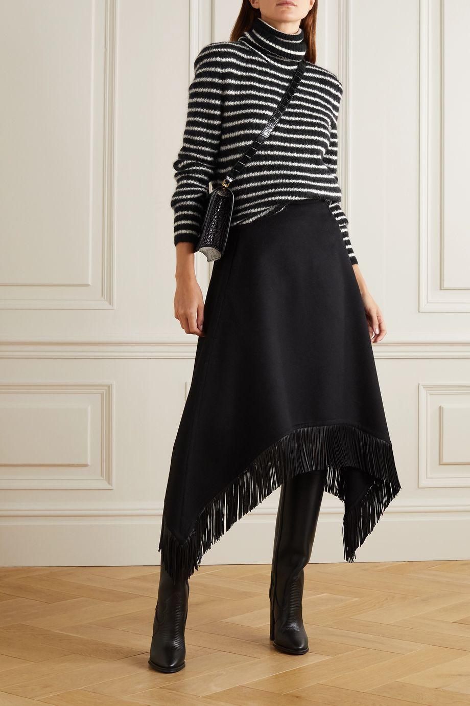 SAINT LAURENT Striped mohair-blend turtleneck sweater