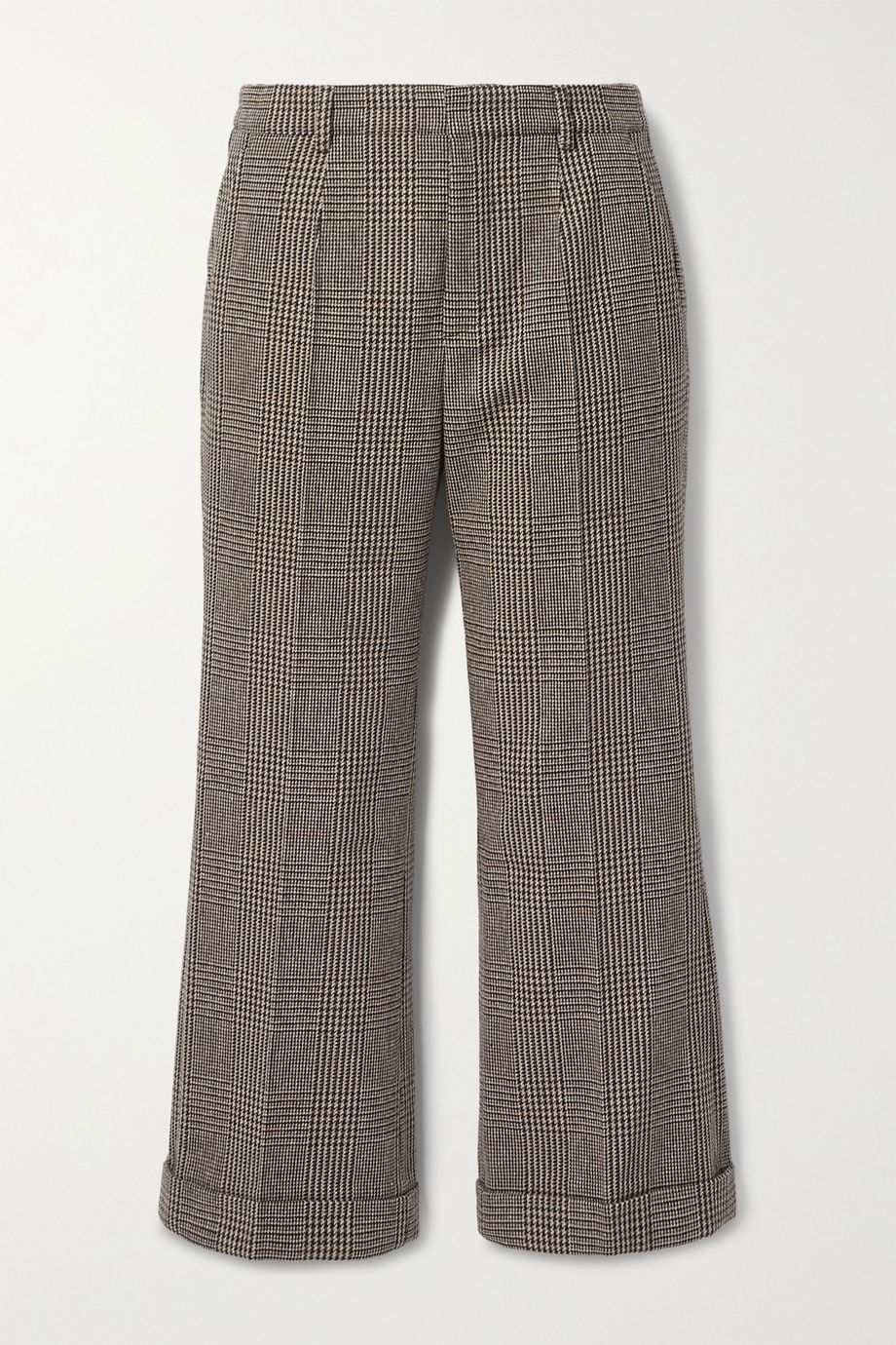SAINT LAURENT Cropped Prince of Wales checked wool-blend straight-leg pants