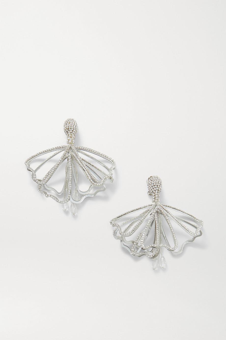 Oscar de la Renta Impatiens silver-tone crystal clip earrings