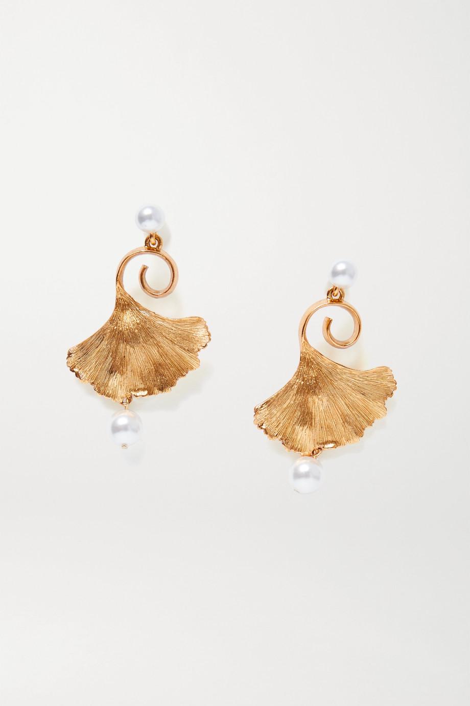 Oscar de la Renta Gold-tone faux pearl earrings