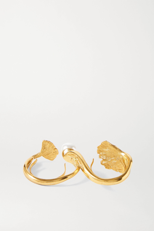 Oscar de la Renta Goldfarbener Zwei-Finger-Ring mit Kunstperle