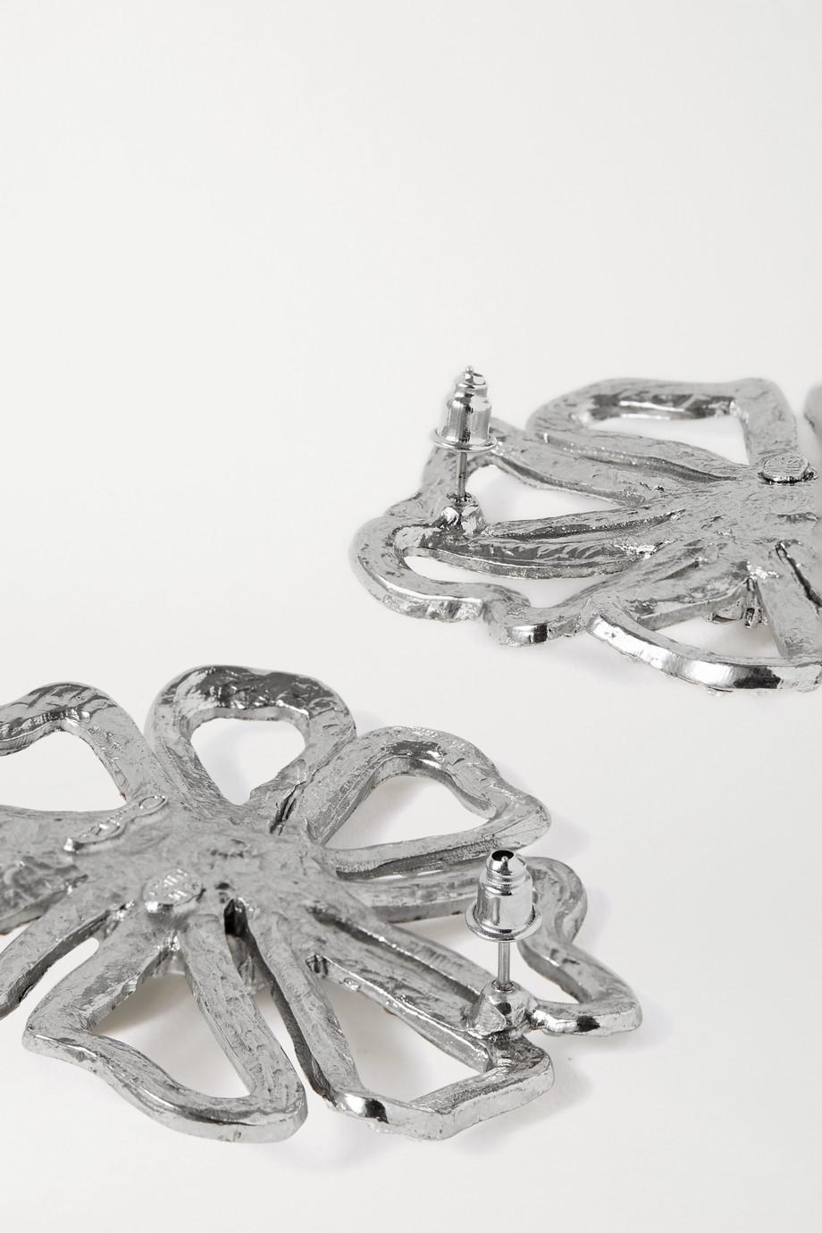 Oscar de la Renta Silver-tone crystal earrings