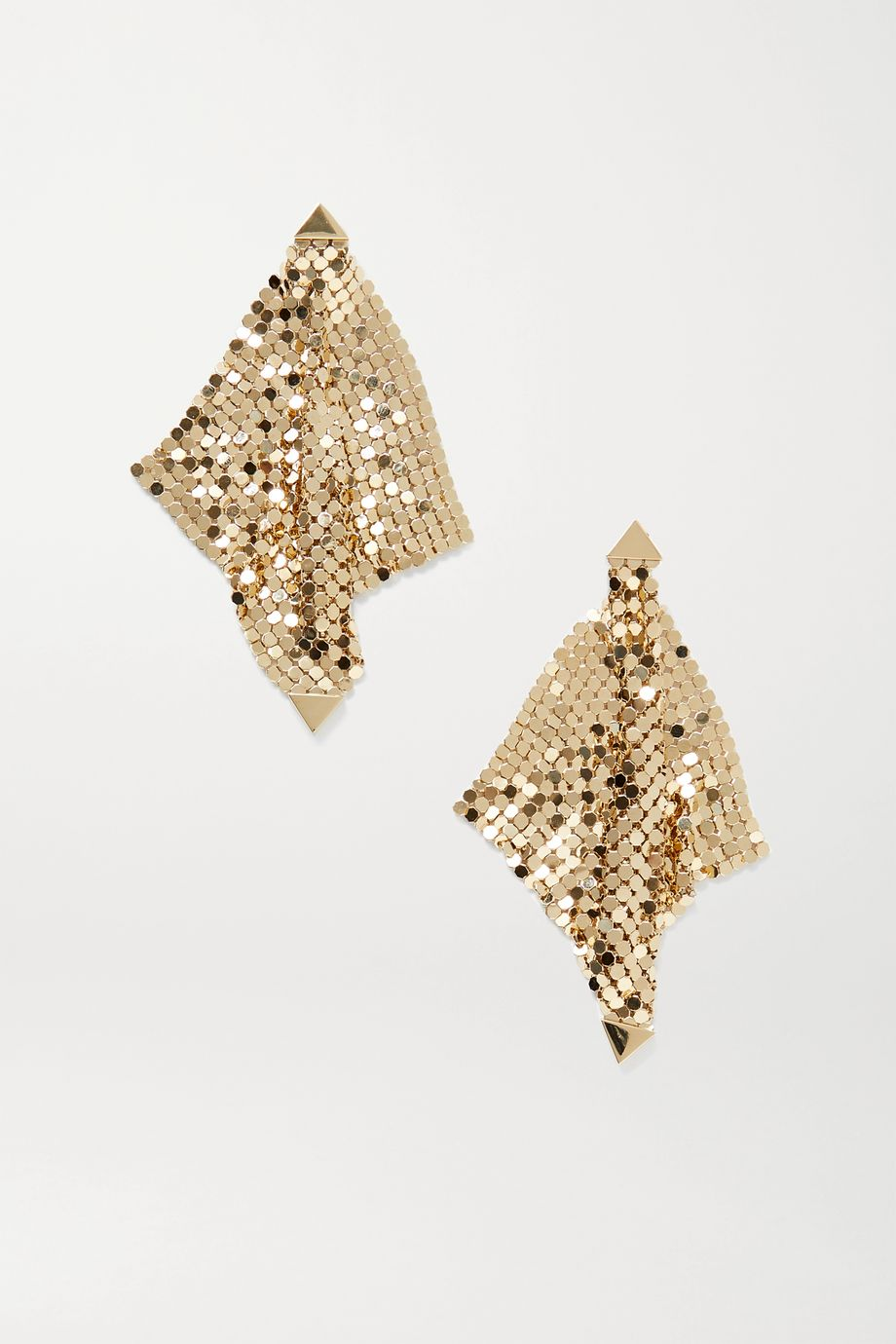 Paco Rabanne Pixel Flow gold-tone chainmail earrings