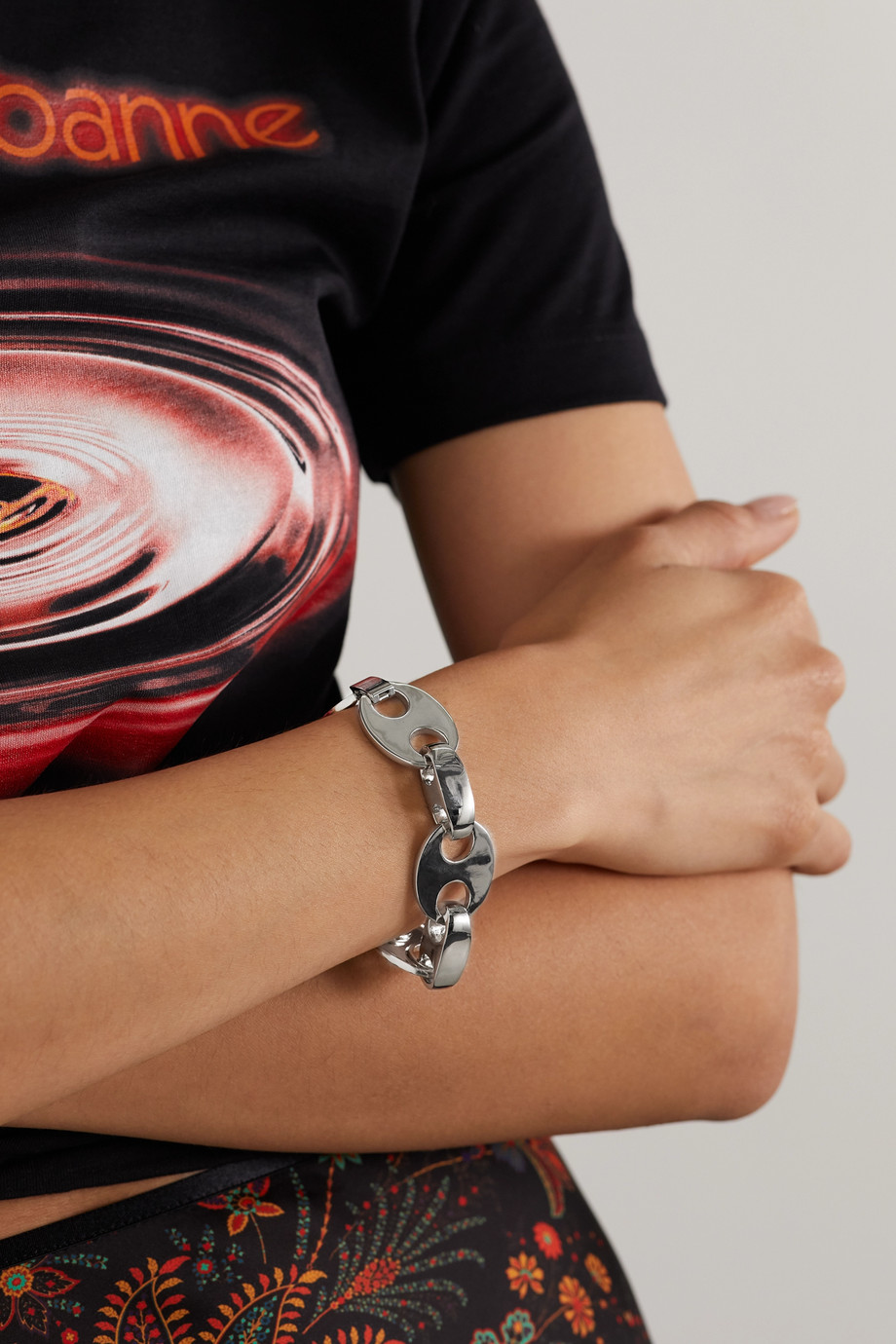 Paco Rabanne Eight silver-tone bracelet