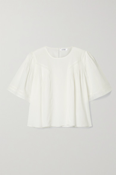 Anine Bing ELOISE CROCHET-TRIMMED PLEATED COTTON-VOILE BLOUSE