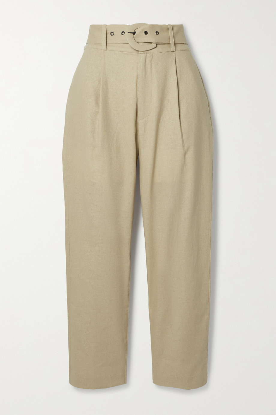 Anine Bing Elyse belted linen and cotton-blend straight-leg pants