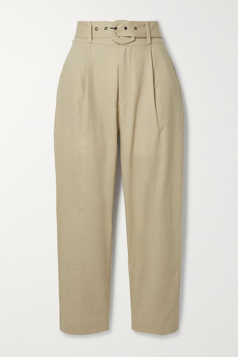 Anine Bing Pantalon droit en coton et lin mélangés à ceinture Elyse
