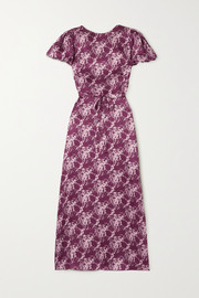 The Vampire's Wife Belted floral-print silk-satin maxi dress