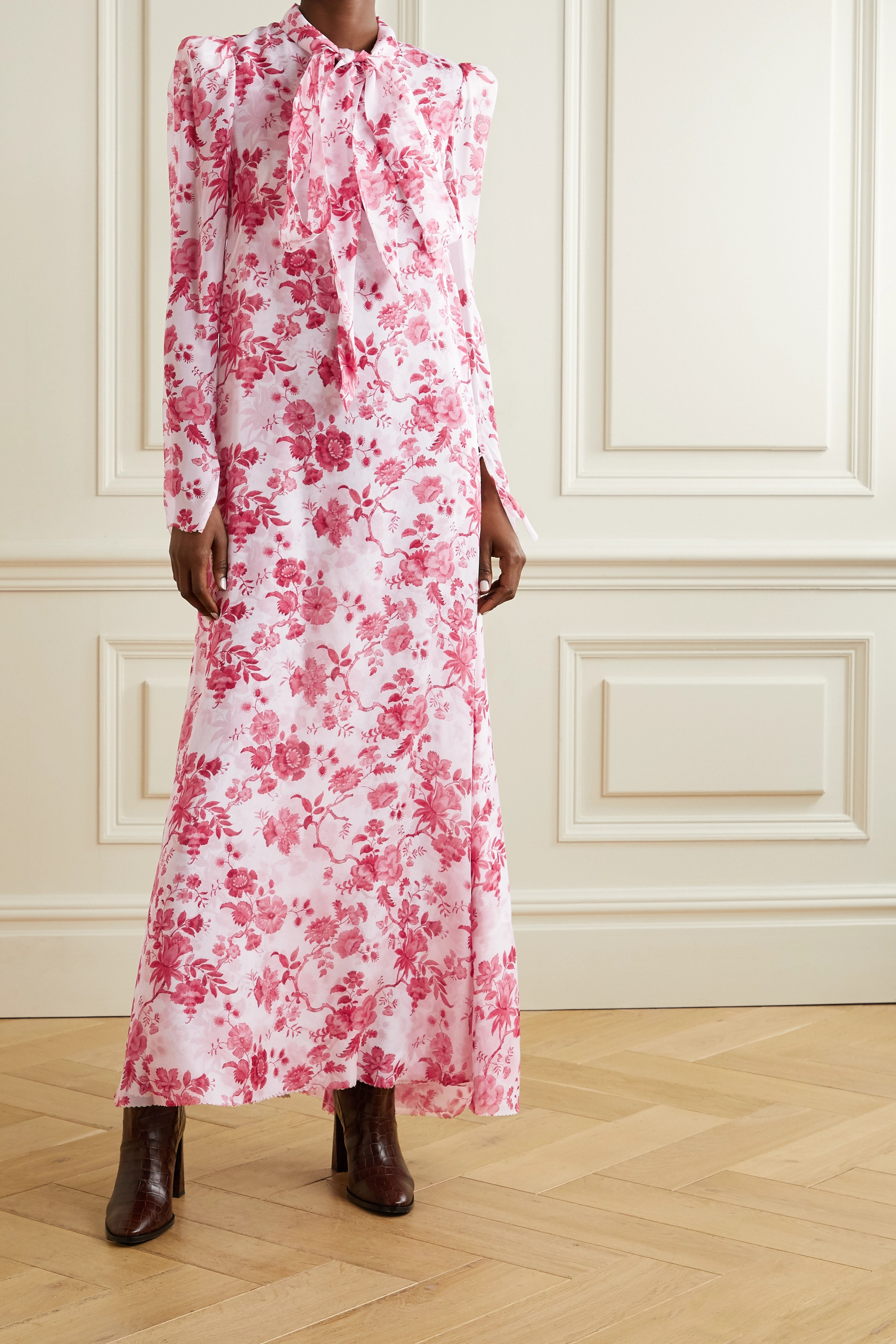 The Vampire's Wife The Unconditional pussy-bow floral-print silk-chiffon maxi dress