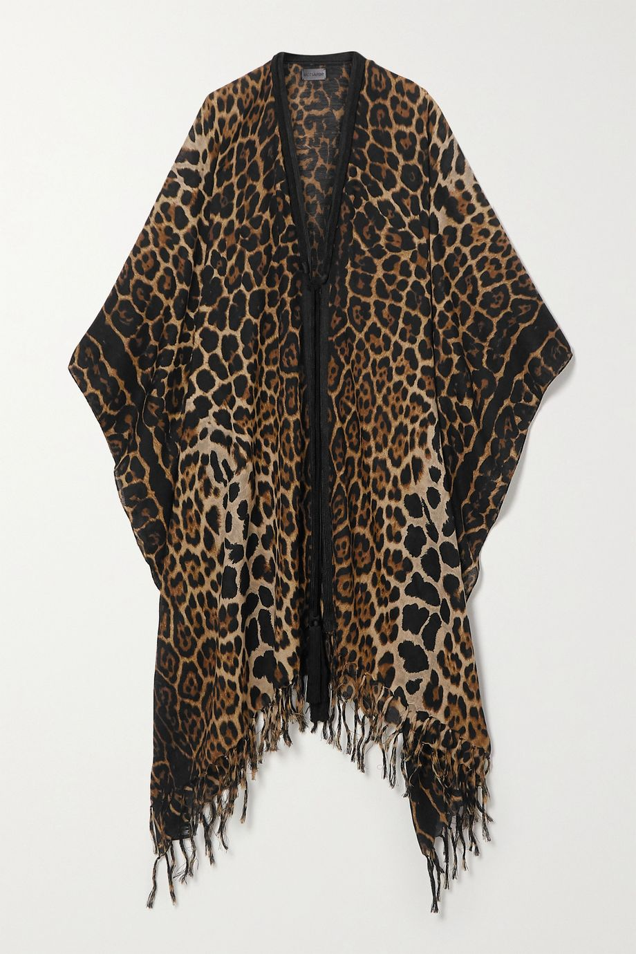 SAINT LAURENT Fringed leopard-print wool wrap