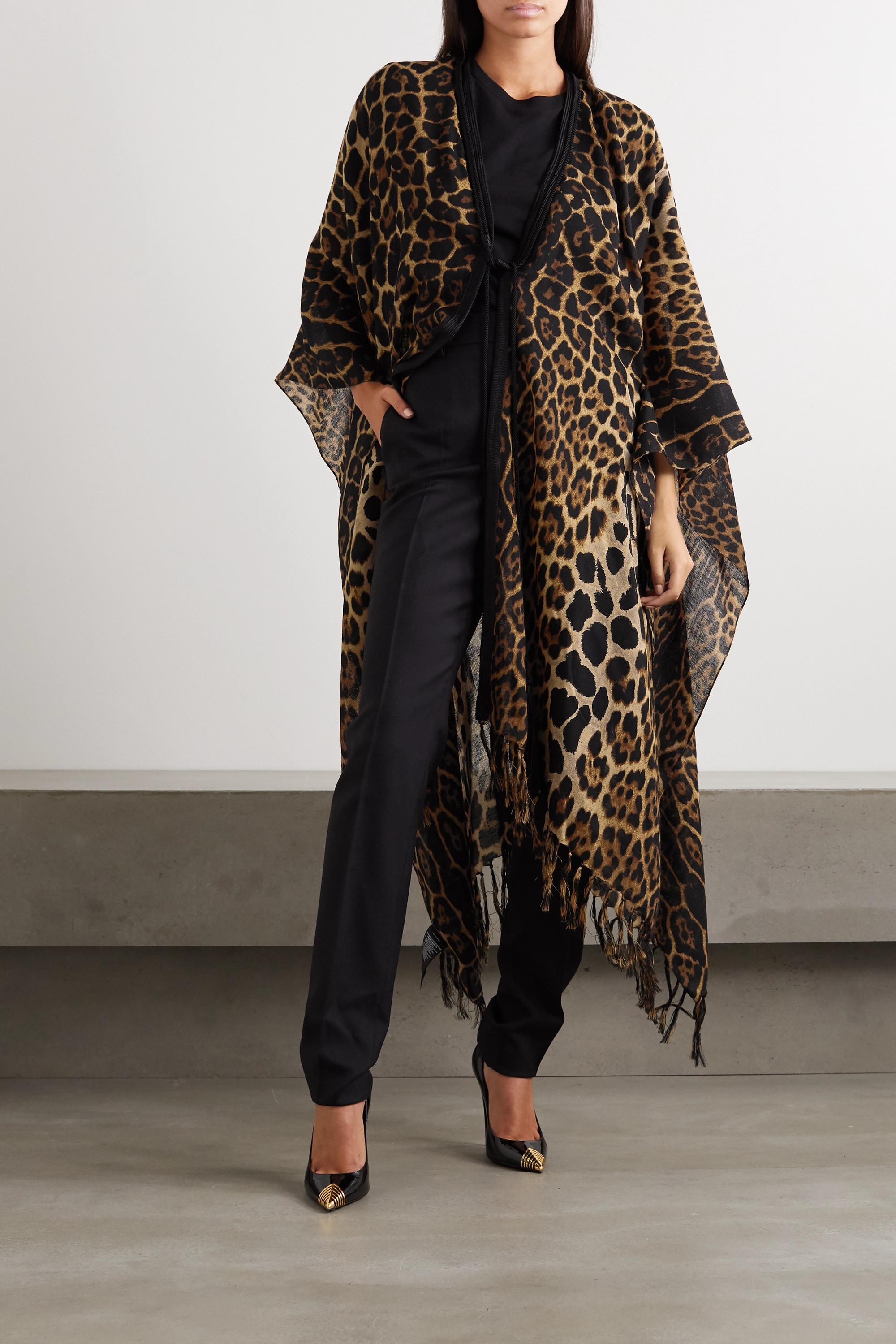 SAINT LAURENT Fringed leopard-print wool wrap