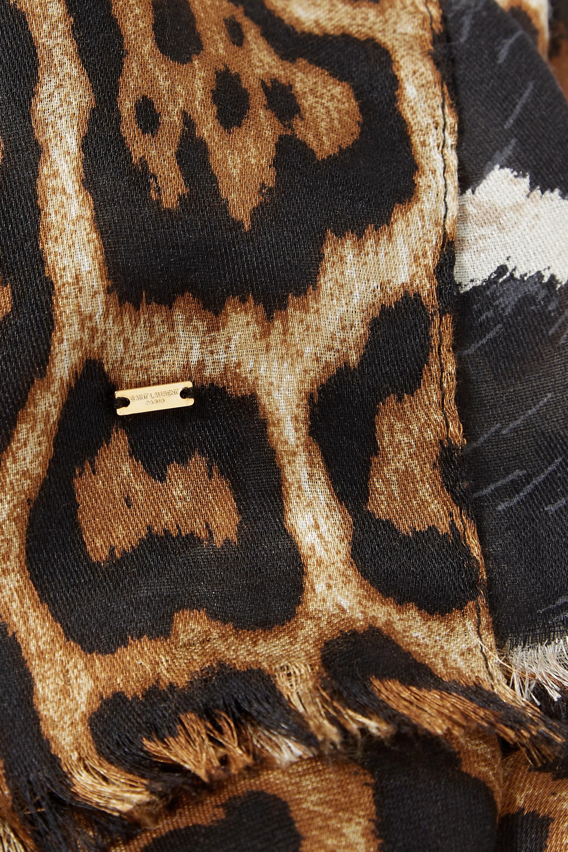 SAINT LAURENT Fringed leopard-print silk scarf