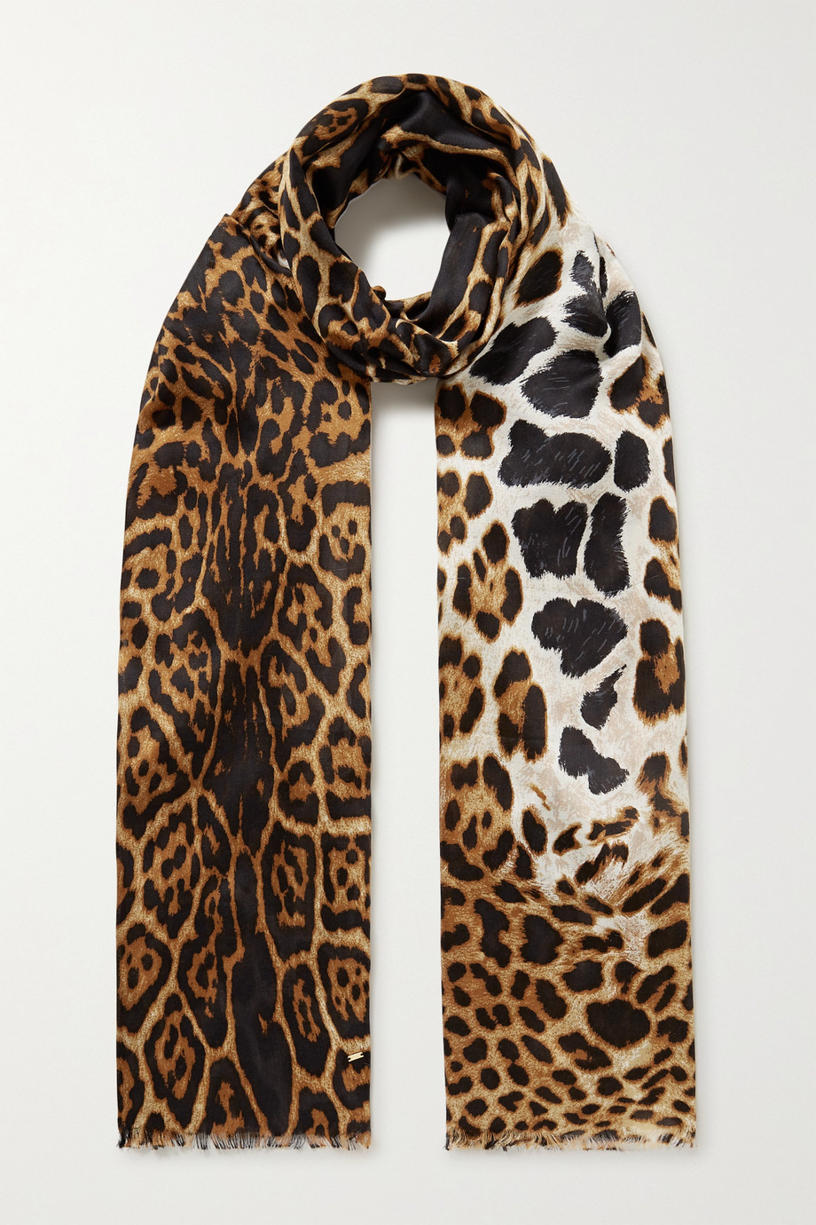 SAINT LAURENT Fringed leopard-print silk scarf