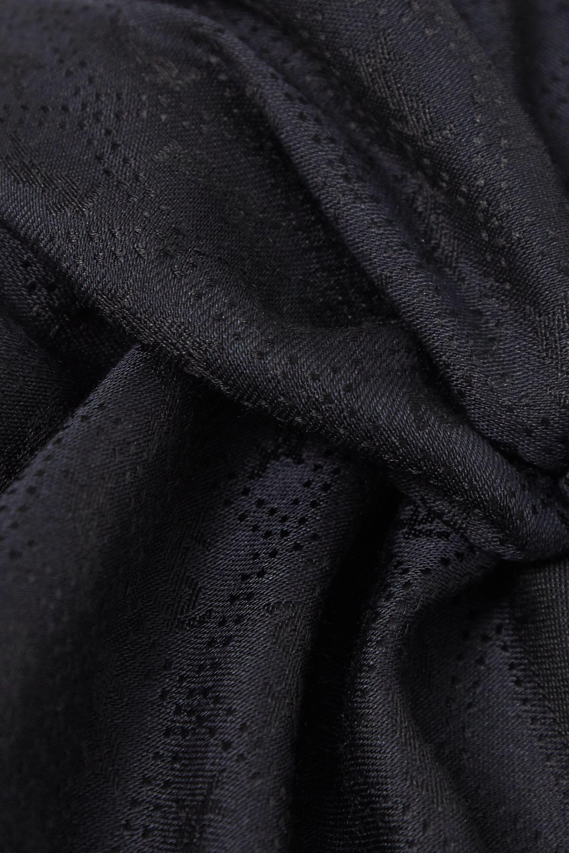 SAINT LAURENT Écharpe en jacquard de soie et de laine mélangées à franges